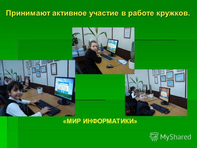 Принимают активное участие в работе кружков. «МИР ИНФОРМАТИКИ»