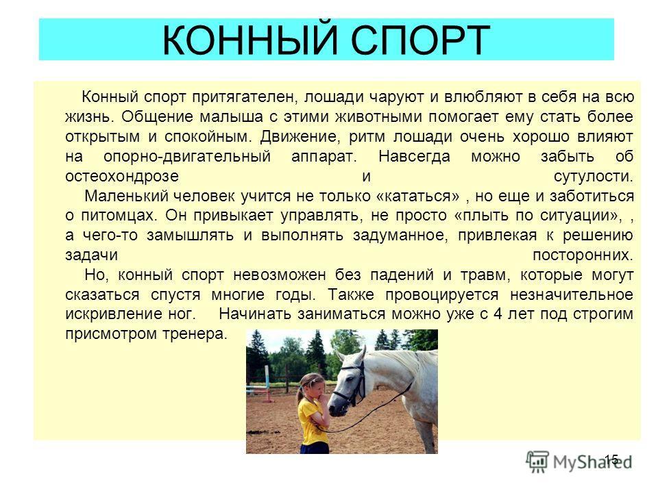 15 КОННЫЙ СПОРТ Конный спорт притягателен, лошади чаруют и влюбляют в себя на всю жизнь. Общение малыша с этими животными помогает ему стать более открытым и спокойным. Движение, ритм лошади очень хорошо влияют на опорно-двигательный аппарат. Навсегд