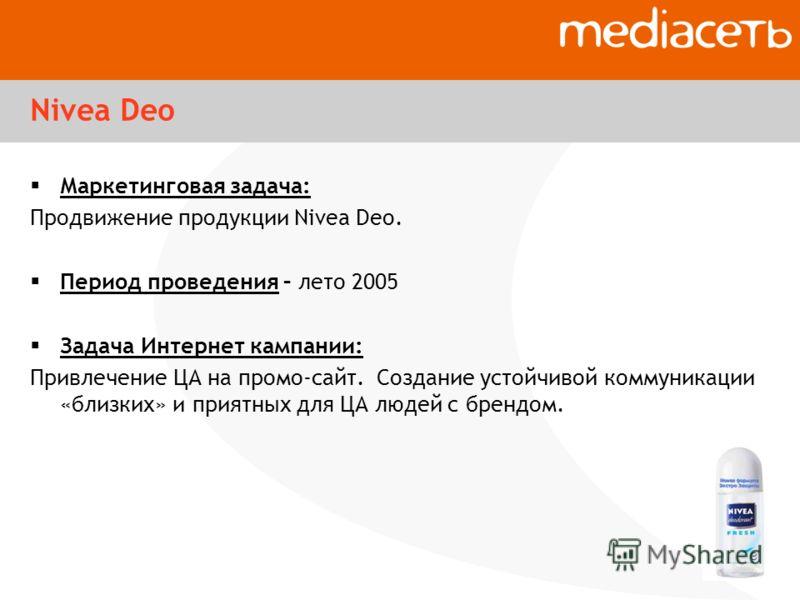 Nivea Deo Маркетинговая задача: Продвижение продукции Nivea Deo. Период проведения – лето 2005 Задача Интернет кампании: Привлечение ЦА на промо-сайт. Создание устойчивой коммуникации «близких» и приятных для ЦА людей с брендом.