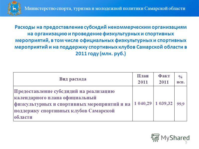5 Расходы на предоставление субсидий некоммерческим организациям на организацию и проведение физкультурных и спортивных мероприятий, в том числе официальных физкультурных и спортивных мероприятий и на поддержку спортивных клубов Самарской области в 2