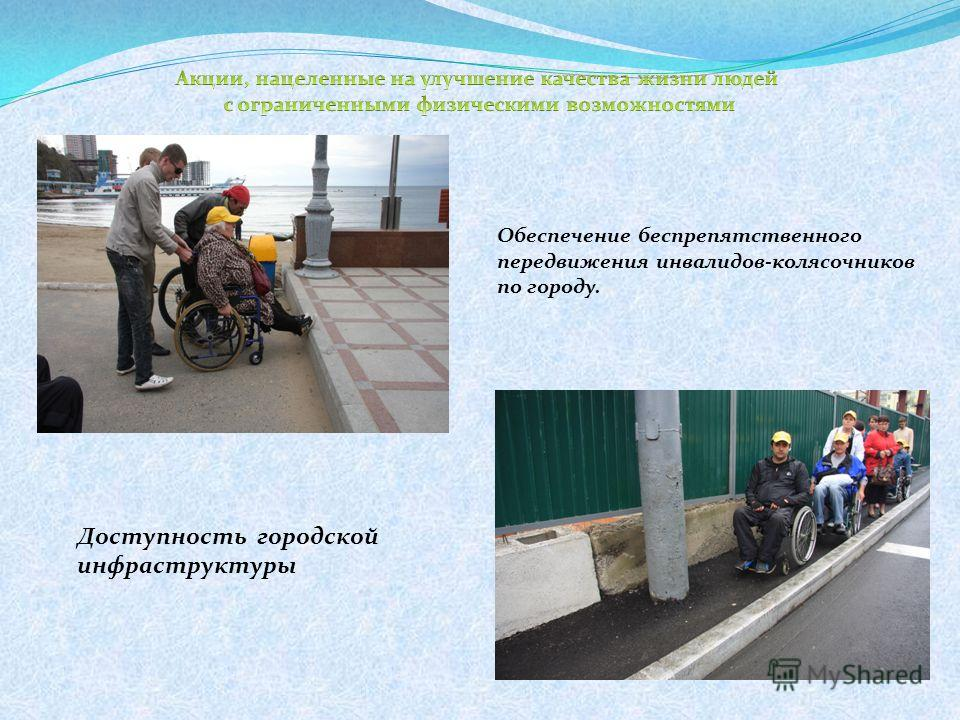 Обеспечение беспрепятственного передвижения инвалидов-колясочников по городу. Доступность городской инфраструктуры
