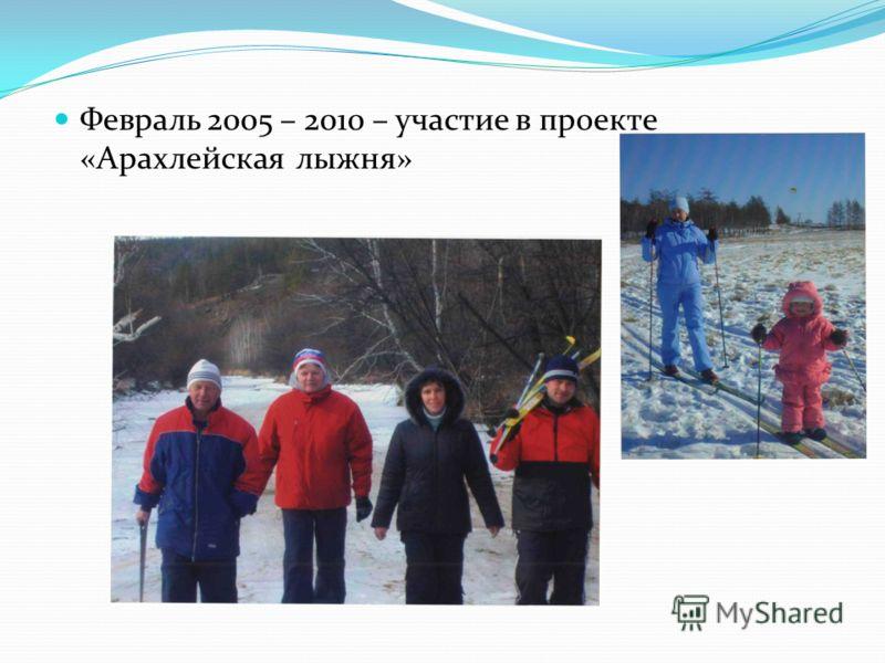 Февраль 2005 – 2010 – участие в проекте «Арахлейская лыжня»