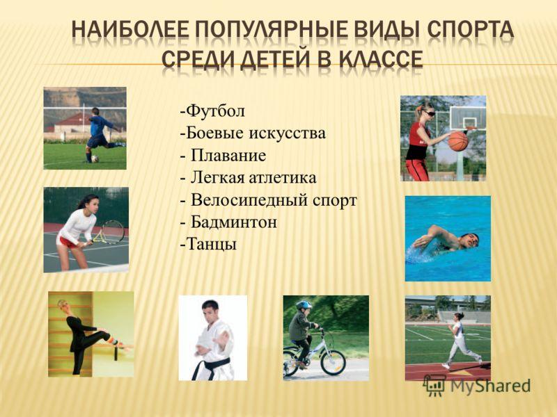 -Футбол -Боевые искусства - Плавание - Легкая атлетика - Велосипедный спорт - Бадминтон -Танцы