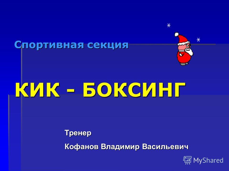 Спортивная секция КИК - БОКСИНГ Тренер Кофанов Владимир Васильевич