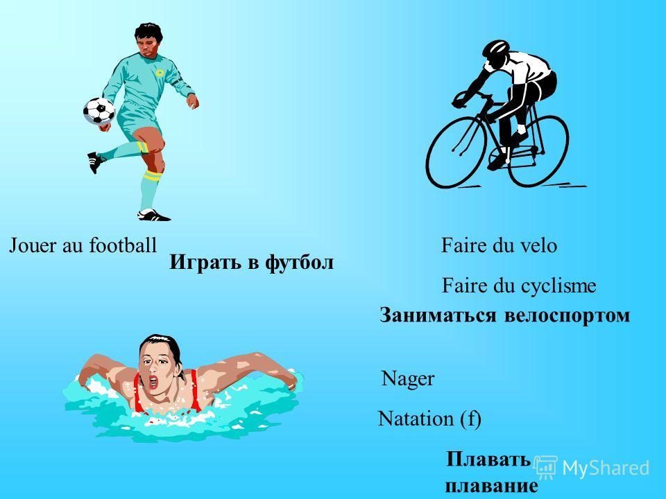 Jouer au footballFaire du velo Faire du cyclisme Nager Natation (f) Играть в футбол Заниматься велоспортом Плавать плавание