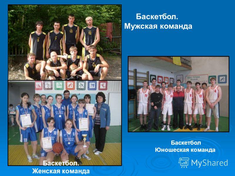 Баскетбол. Мужская команда Баскетбол. Женская команда Баскетбол Юношеская команда