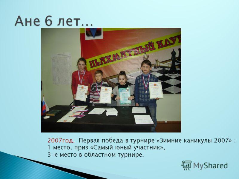 2007год. Первая победа в турнире «Зимние каникулы 2007» : 1 место, приз «Самый юный участник», 3-е место в областном турнире.