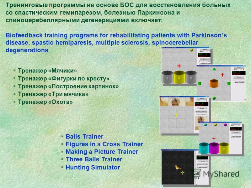 Тренинговые программы на основе БОС для восстановления больных со спастическим гемипарезом, болезнью Паркинсона и спиноцеребеллярными дегенерациями включает: Biofeedback training programs for rehabilitating patients with Parkinsons disease, spastic h