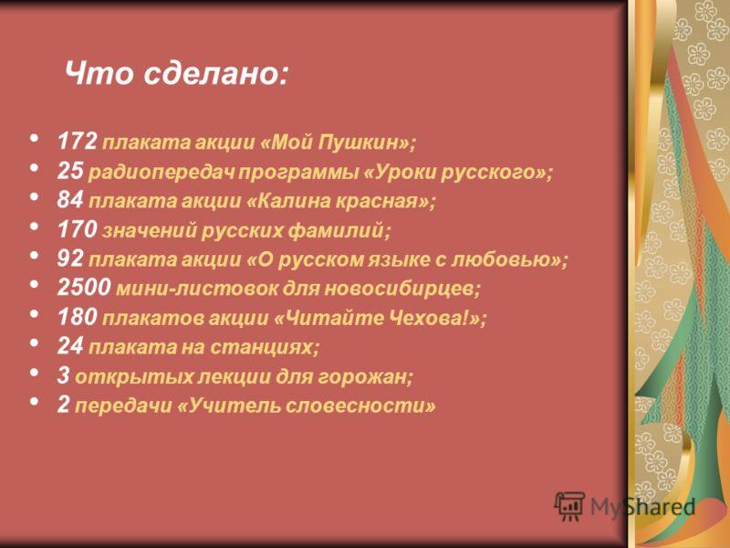 172 плаката акции «Мой Пушкин»; 25 радиопередач программы «Уроки русского»; 84 плаката акции «Калина красная»; 170 значений русских фамилий; 92 плаката акции «О русском языке с любовью»; 2500 мини-листовок для новосибирцев; 180 плакатов акции «Читайт