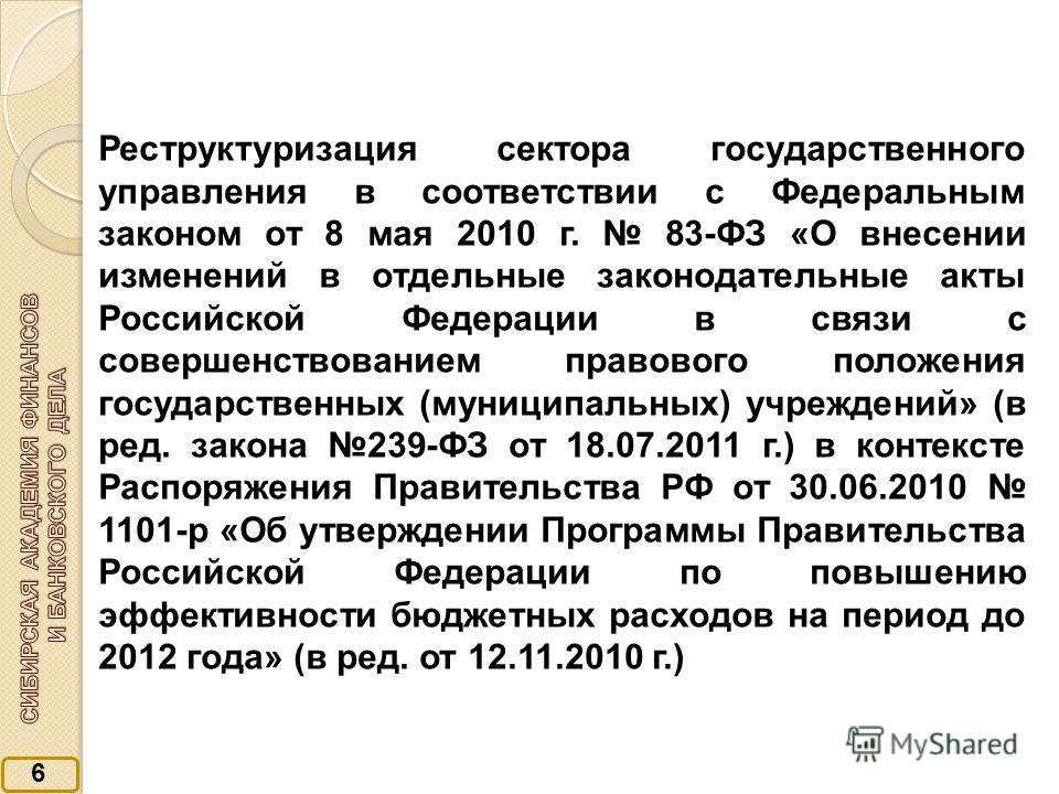 6 Реструктуризация сектора государственного управления в соответствии с Федеральным законом от 8 мая 2010 г. 83-ФЗ «О внесении изменений в отдельные законодательные акты Российской Федерации в связи с совершенствованием правового положения государств