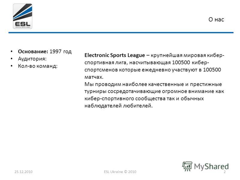 О нас Основание: 1997 год Аудитория: Кол-во команд: 25.12.2010ESL Ukraine © 20102 Electronic Sports League – крупнейшая мировая кибер- спортивная лига, насчитывающая 100500 кибер- спортсменов которые ежедневно участвуют в 100500 матчах. Мы проводим н