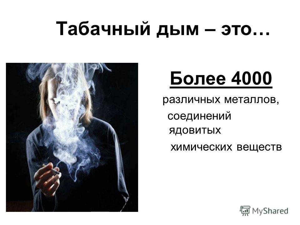 Табачный дым – это… Более 4000 различных металлов, соединений ядовитых химических веществ