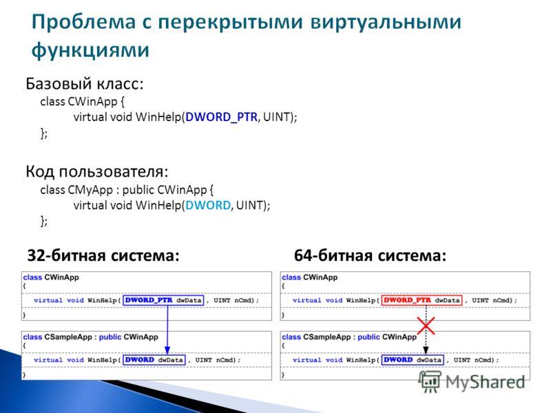 Базовый класс: class CWinApp { virtual void WinHelp(DWORD_PTR, UINT); }; Код пользователя: class CMyApp : public CWinApp { virtual void WinHelp(DWORD, UINT); }; 32-битная система:64-битная система: