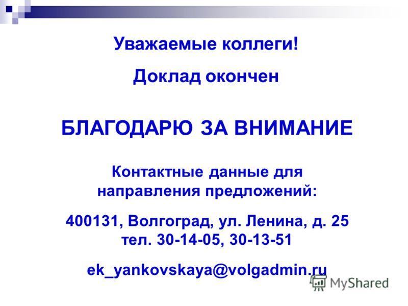 Уважаемые коллеги! Доклад окончен БЛАГОДАРЮ ЗА ВНИМАНИЕ Контактные данные для направления предложений: 400131, Волгоград, ул. Ленина, д. 25 тел. 30-14-05, 30-13-51 ek_yankovskaya@volgadmin.ru