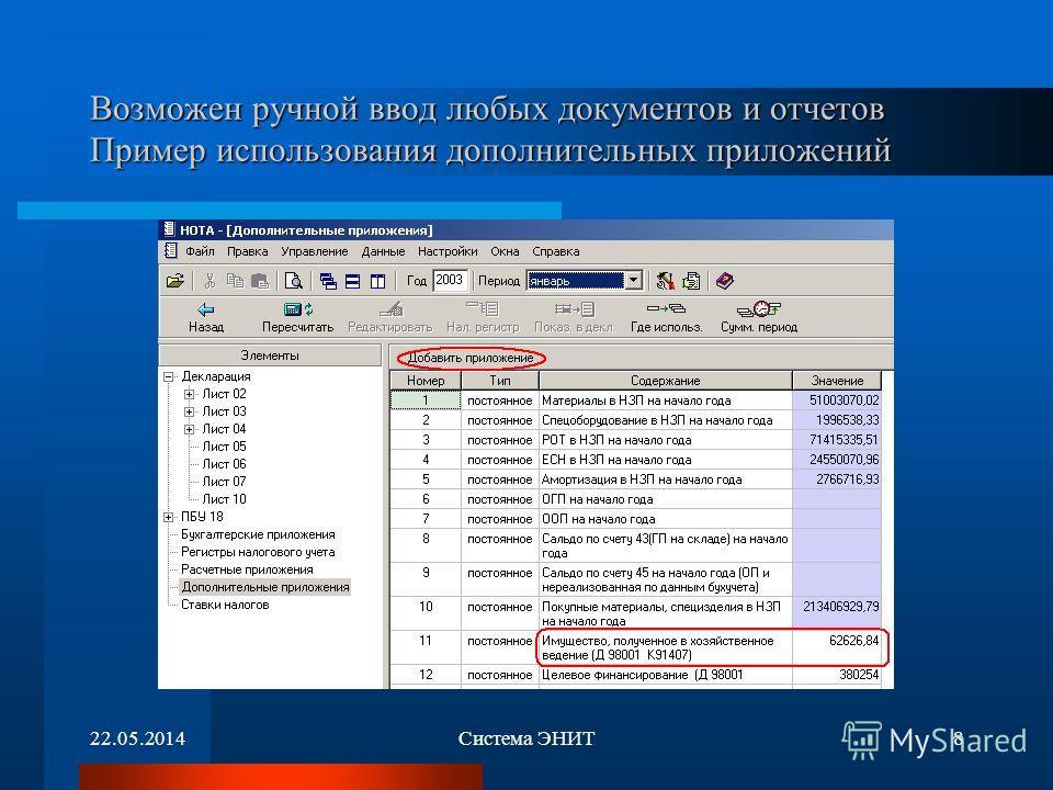 22.05.2014Система ЭНИТ8 Возможен ручной ввод любых документов и отчетов Пример использования дополнительных приложений