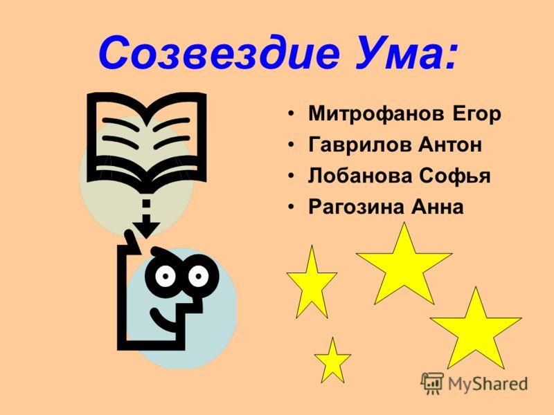 Созвездие Ума: Митрофанов Егор Гаврилов Антон Лобанова Софья Рагозина Анна