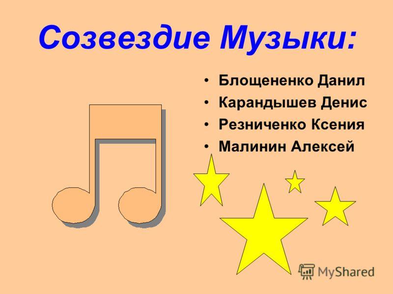 Созвездие Музыки: Блощененко Данил Карандышев Денис Резниченко Ксения Малинин Алексей