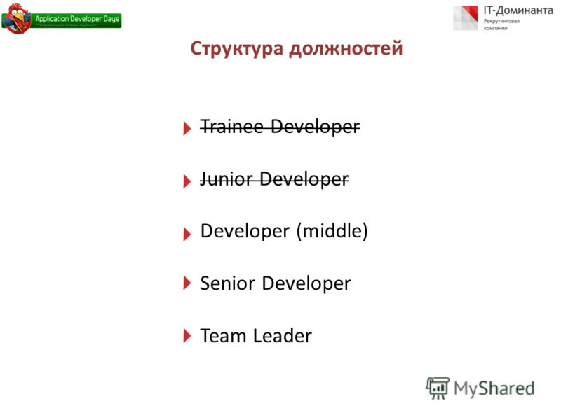 Структура должностей Trainee Developer Junior Developer Developer (middle) Senior Developer Team Leader