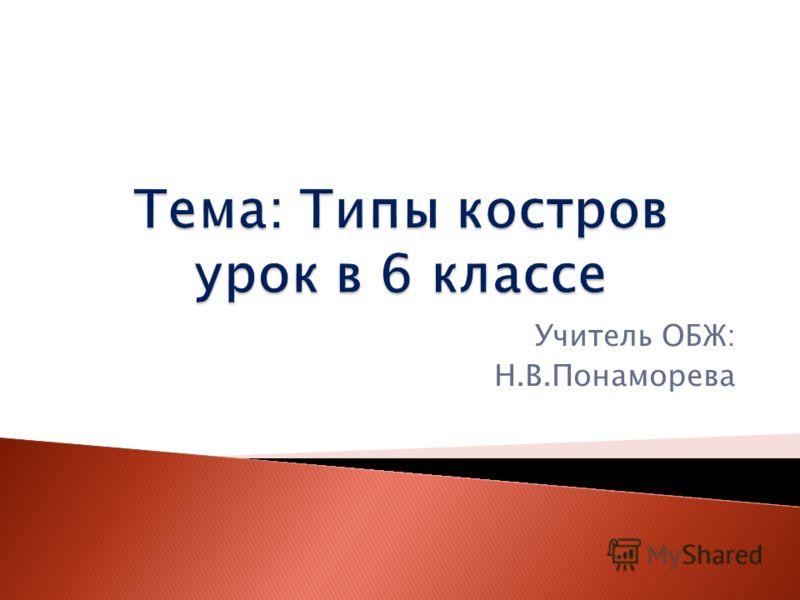 Тема: Типы костров урок в 6 классе Учитель ОБЖ: Н.В.Понаморева