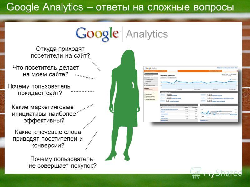Google Analytics – ответы на сложные вопросы Какие маркетинговые инициативы наиболее эффективны? Почему пользователь покидает сайт? Почему пользователь не совершает покупок? Какие ключевые слова приводят посетителей и конверсии? Что посетитель делает