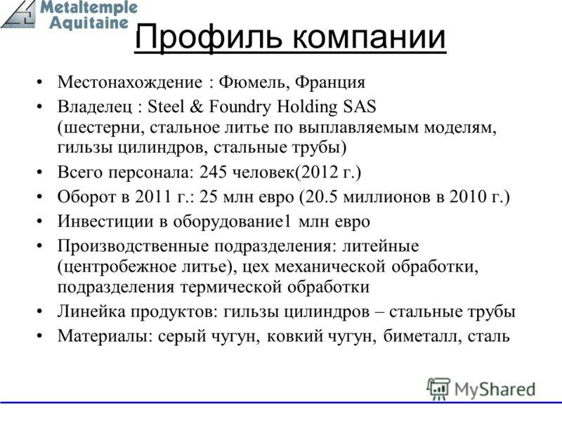 Профиль компании Местонахождение : Фюмель, Франция Владелец : Steel & Foundry Holding SAS (шестерни, стальное литье по выплавляемым моделям, гильзы цилиндров, стальные трубы) Всего персонала: 245 человек(2012 г.) Оборот в 2011 г.: 25 млн евро (20.5 м