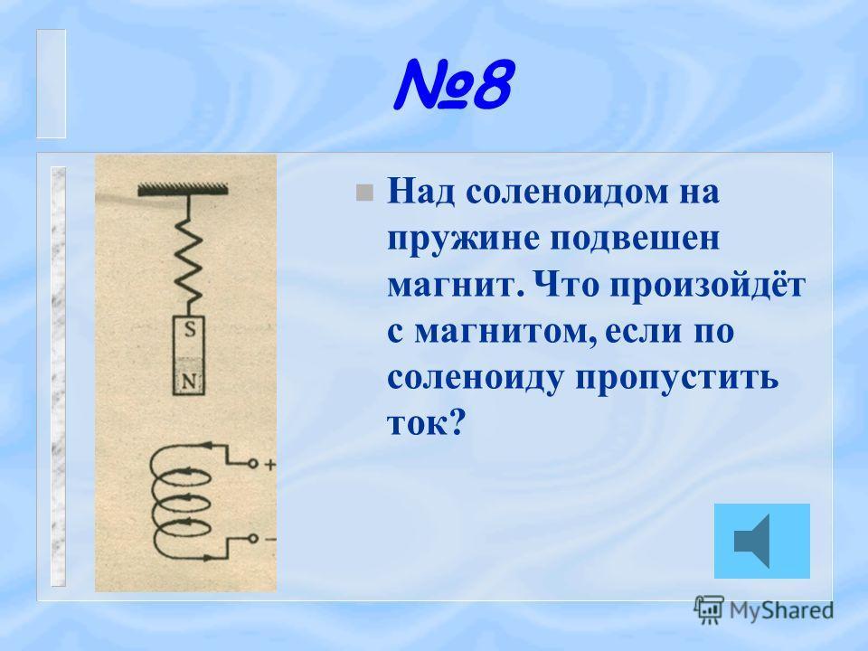 7 n Какое положение займёт относительно магнита подвижный соленоид с током?