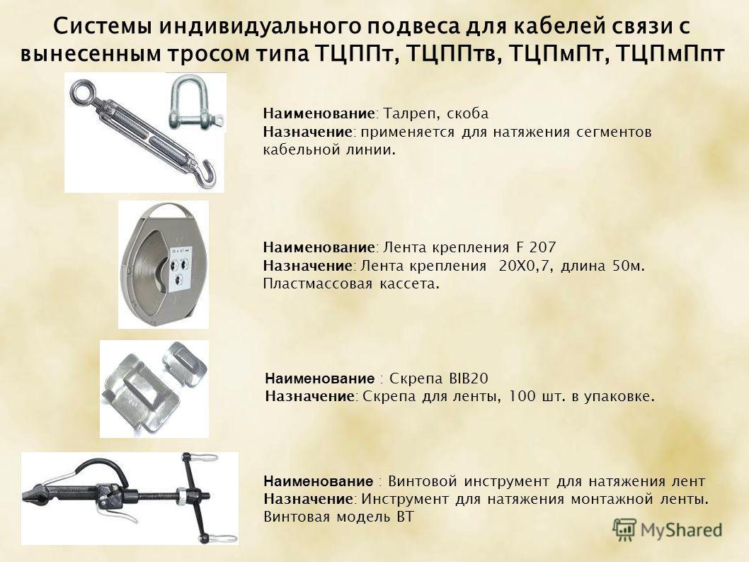 Системы индивидуального подвеса для кабелей связи с вынесенным тросом типа ТЦППт, ТЦППтв, ТЦПмПт, ТЦПмПпт Наименование: Лента крепления F 207 Назначение: Лента крепления 20X0,7, длина 50м. Пластмассовая кассета. Наименование : Скрепа BIB20 Назначение