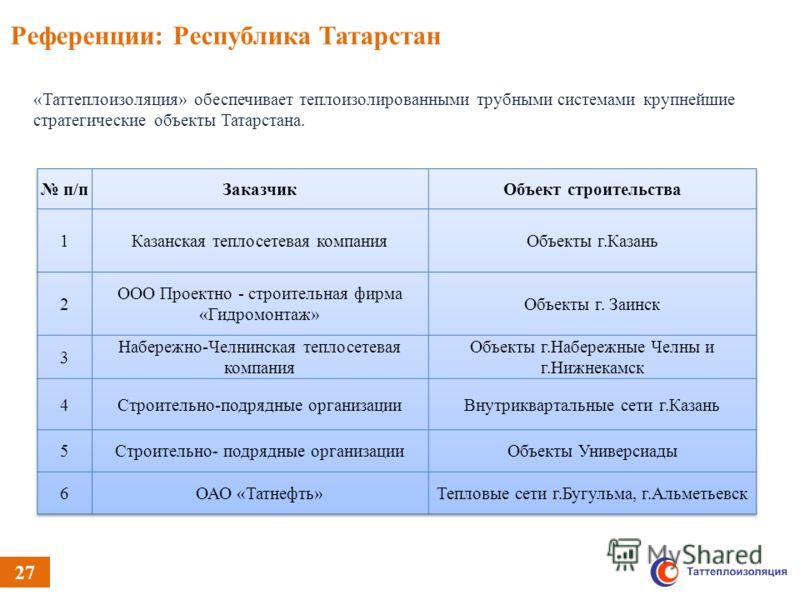 «Таттеплоизоляция» обеспечивает теплоизолированными трубными системами крупнейшие стратегические объекты Татарстана. Референции: Республика Татарстан 27