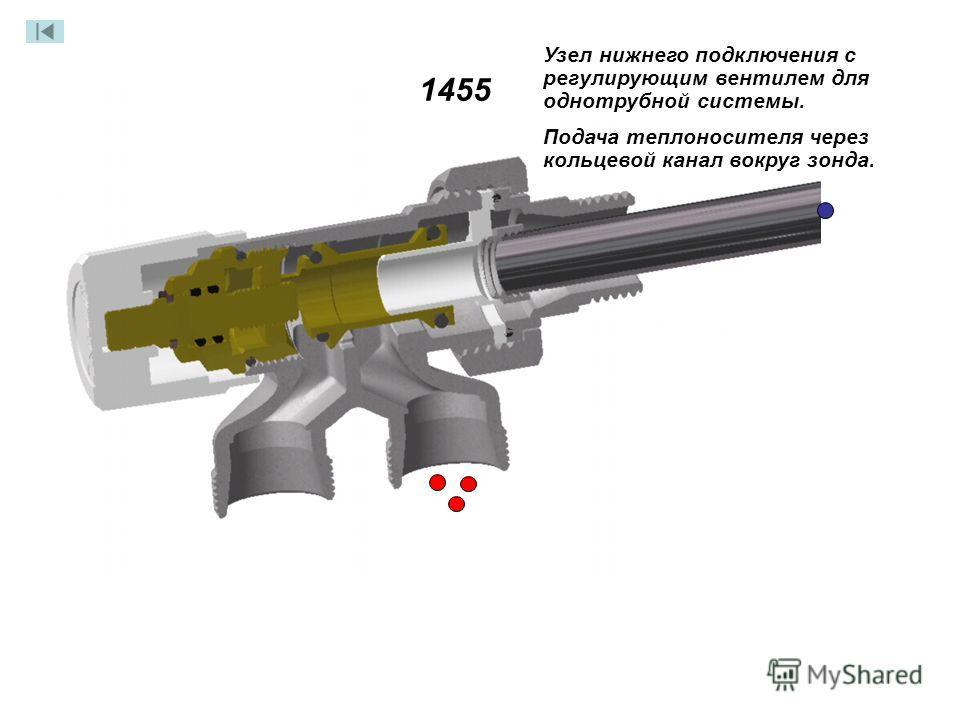 Узел нижнего подключения с регулирующим вентилем для однотрубной системы. Подача теплоносителя через кольцевой канал вокруг зонда. 1455