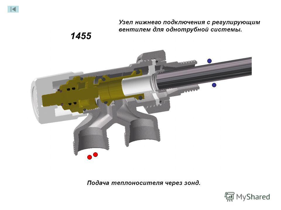 Узел нижнего подключения с регулирующим вентилем для однотрубной системы. 1455 Подача теплоносителя через зонд.