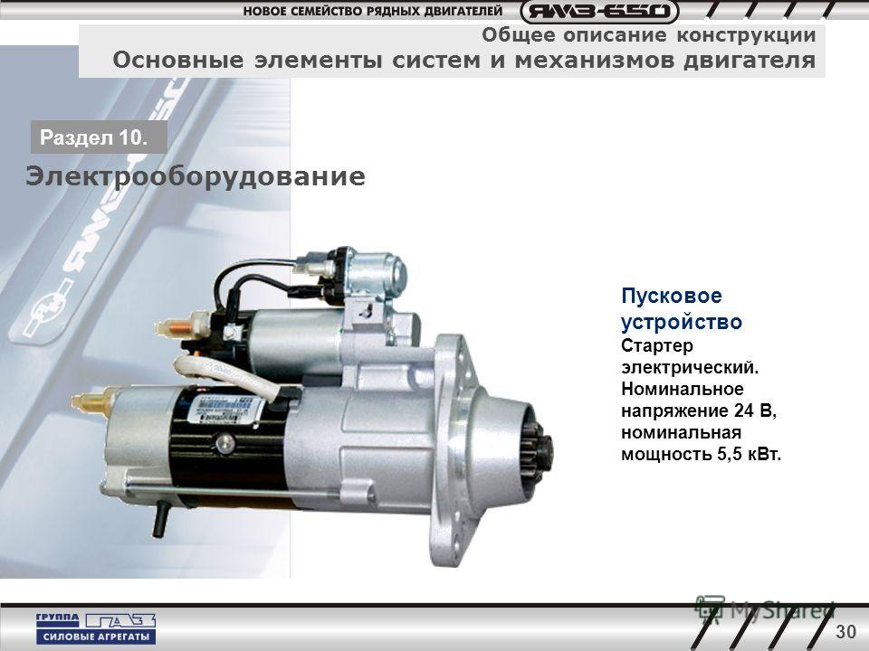 30 Общее описание конструкции Основные элементы систем и механизмов двигателя Электрооборудование Раздел 10. Пусковое устройство Стартер электрический. Номинальное напряжение 24 В, номинальная мощность 5,5 кВт.