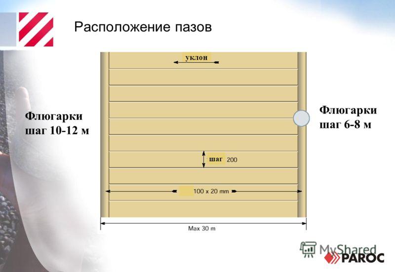 Расположение пазов Флюгарки шаг 6-8 м Флюгарки шаг 10-12 м уклон шаг