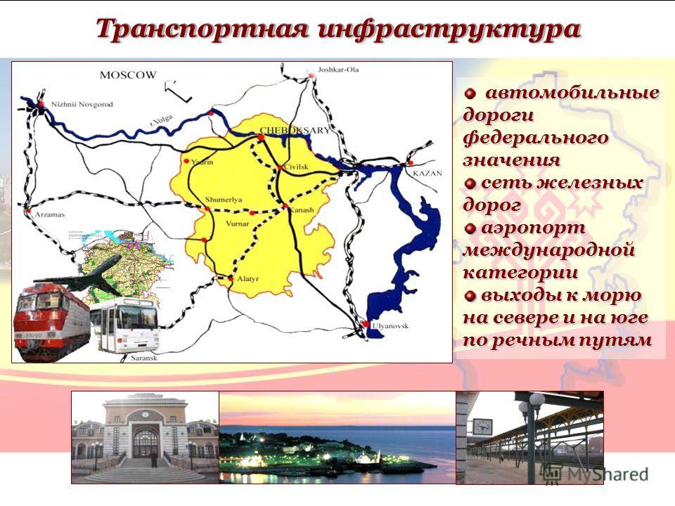 автомобильные дороги федерального значения сеть железных дорог сеть железных дорог аэропорт международной категории аэропорт международной категории выходы к морю на севере и на юге по речным путям выходы к морю на севере и на юге по речным путям Тра