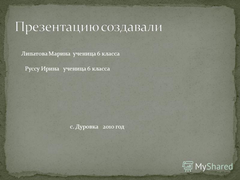 Липатова Марина ученица 6 класса Руссу Ирина ученица 6 класса с. Дуровка 2010 год