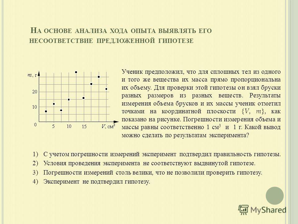 1)С учетом погрешности измерений эксперимент подтвердил правильность гипотезы. 2)Условия проведения эксперимента не соответствуют выдвинутой гипотезе. 3)Погрешности измерений столь велики, что не позволили проверить гипотезу. 4)Эксперимент не подтвер