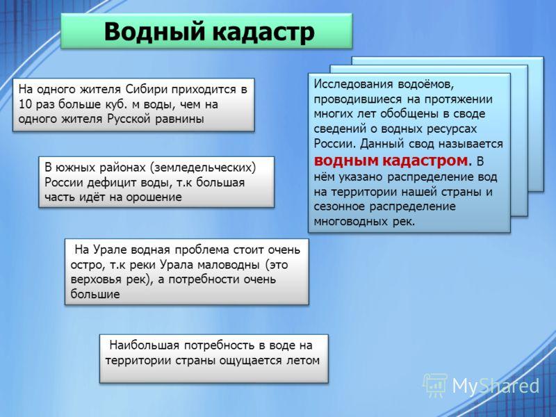 Водный кадастр Исследования водоёмов, проводившиеся на протяжении многих лет обобщены в своде сведений о водных ресурсах России. Данный свод называется водным кадастром. В нём указано распределение вод на территории нашей страны и сезонное распределе