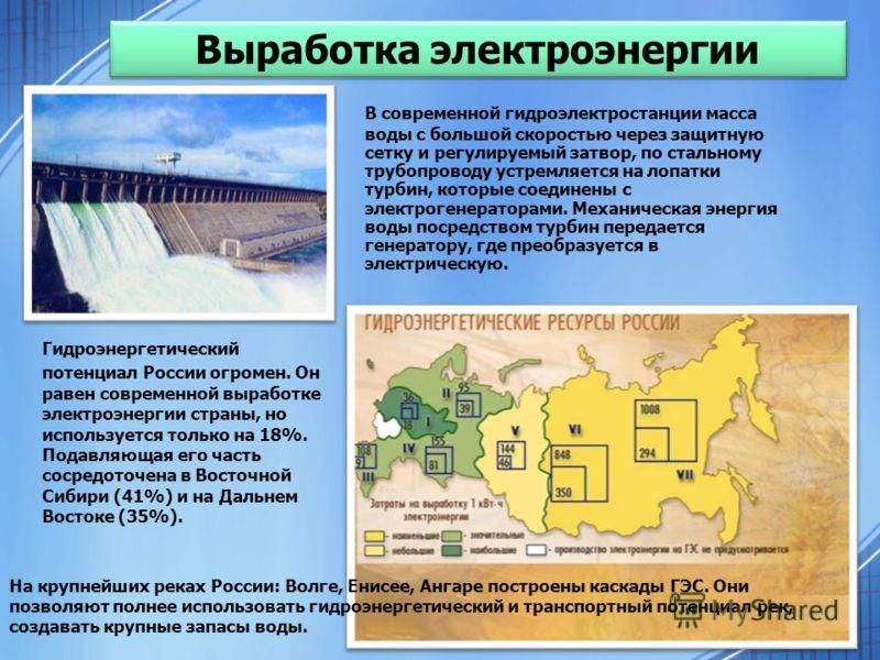 В современной гидроэлектростанции масса воды с большой скоростью через защитную сетку и регулируемый затвор, по стальному трубопроводу устремляется на лопатки турбин, которые соединены с электрогенераторами. Механическая энергия воды посредством турб