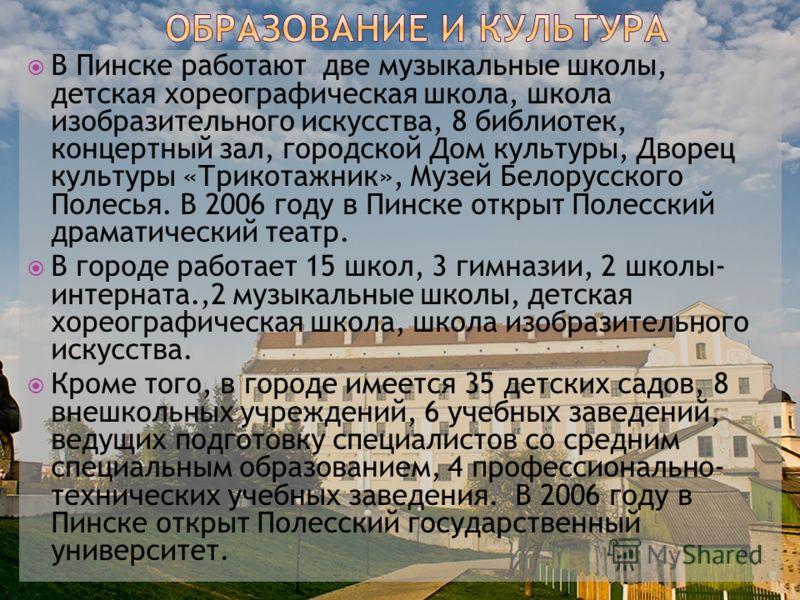 В Пинске работают две музыкальные школы, детская хореографическая школа, школа изобразительного искусства, 8 библиотек, концертный зал, городской Дом культуры, Дворец культуры «Трикотажник», Музей Белорусского Полесья. В 2006 году в Пинске открыт Пол