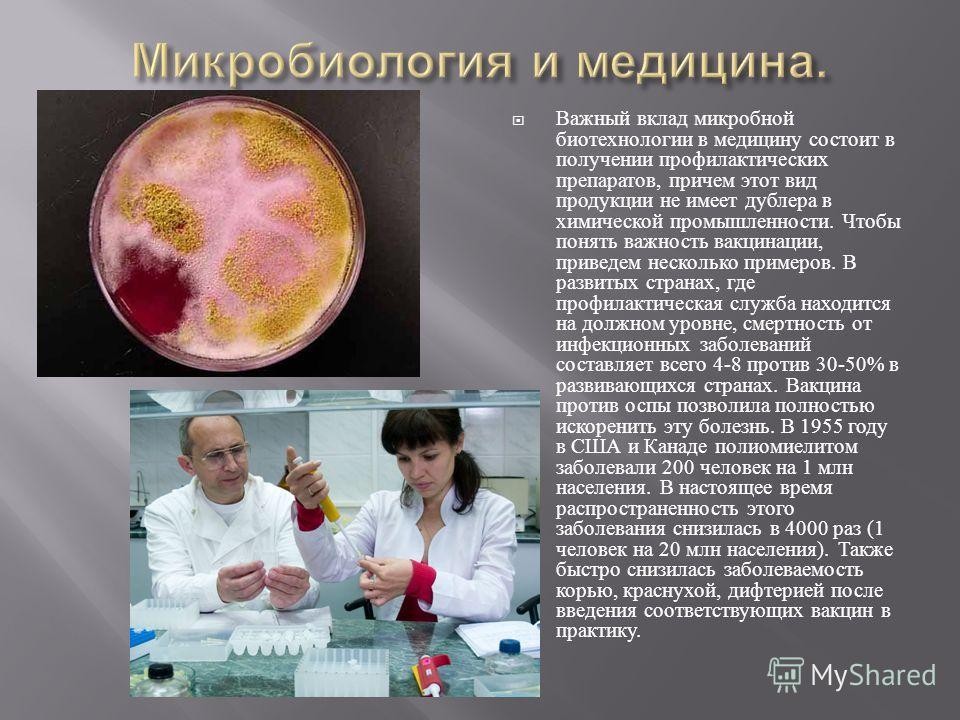 Важный вклад микробной биотехнологии в медицину состоит в получении профилактических препаратов, причем этот вид продукции не имеет дублера в химической промышленности. Чтобы понять важность вакцинации, приведем несколько примеров. В развитых странах
