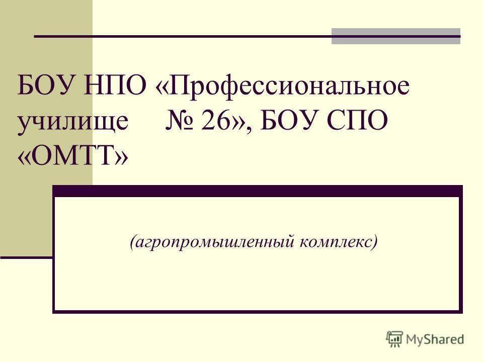 БОУ НПО «Профессиональное училище 26», БОУ СПО «ОМТТ» (агропромышленный комплекс)