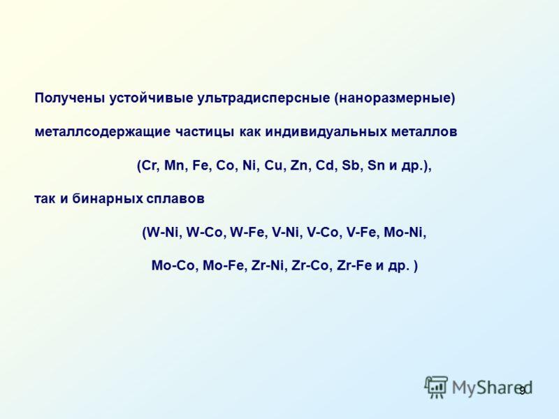 9 Получены устойчивые ультрадисперсные (наноразмерные) металлсодержащие частицы как индивидуальных металлов (Cr, Mn, Fe, Co, Ni, Cu, Zn, Cd, Sb, Sn и др.), так и бинарных сплавов (W-Ni, W-Co, W-Fe, V-Ni, V-Co, V-Fe, Mo-Ni, Mo-Co, Mo-Fe, Zr-Ni, Zr-Co,