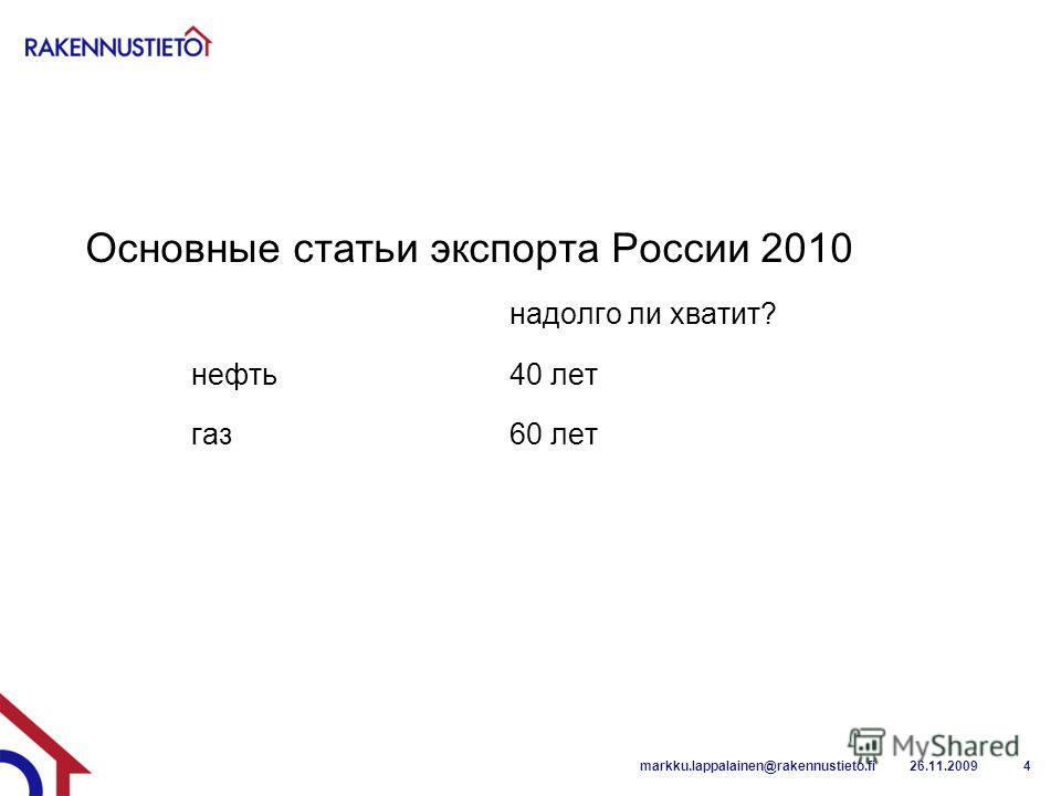 Основные статьи экспорта России 2010 надолго ли хватит? нефть40 лет газ60 лет 26.11.2009markku.lappalainen@rakennustieto.fi4