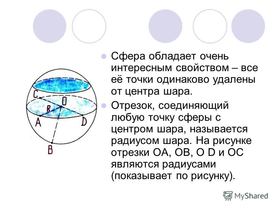 Сфера обладает очень интересным свойством – все её точки одинаково удалены от центра шара. Отрезок, соединяющий любую точку сферы с центром шара, называется радиусом шара. На рисунке отрезки ОА, ОВ, О D и ОС являются радиусами (показывает по рисунку)