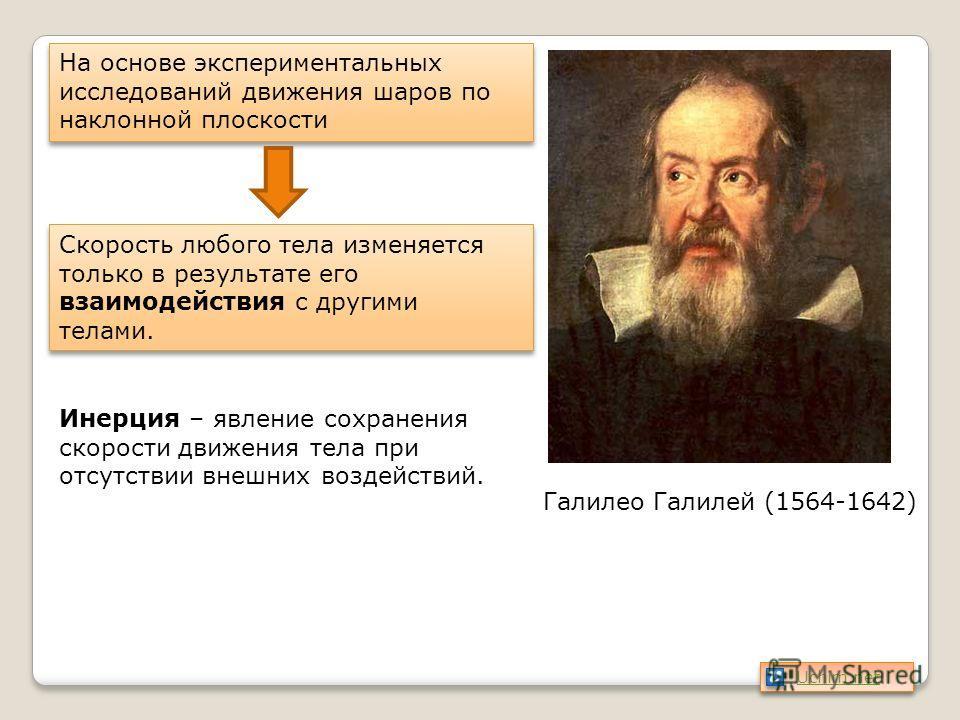 Галилео Галилей (1564-1642) На основе экспериментальных исследований движения шаров по наклонной плоскости Скорость любого тела изменяется только в результате его взаимодействия с другими телами. Инерция – явление сохранения скорости движения тела пр