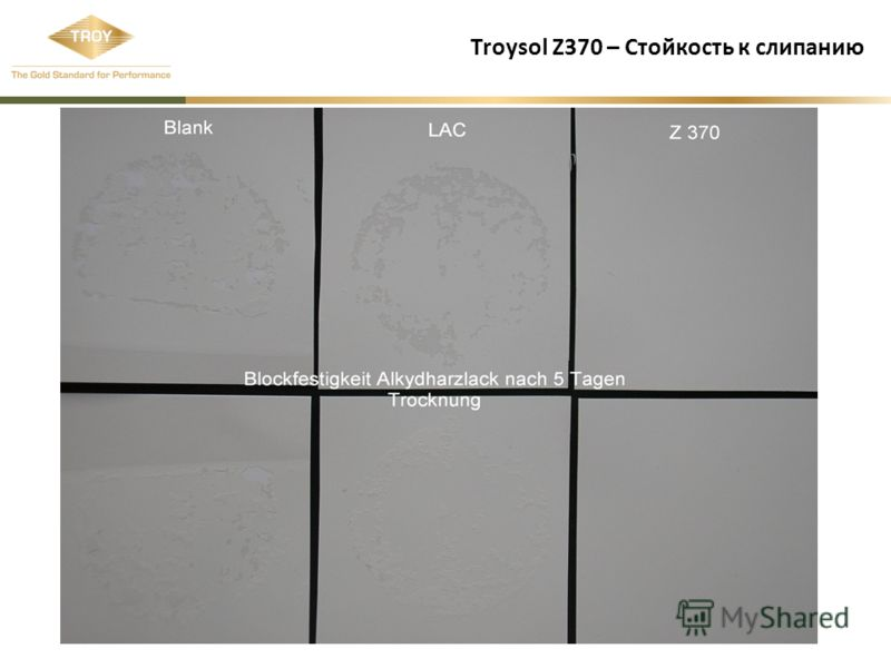 Troysol Z370 – Стойкость к слипанию