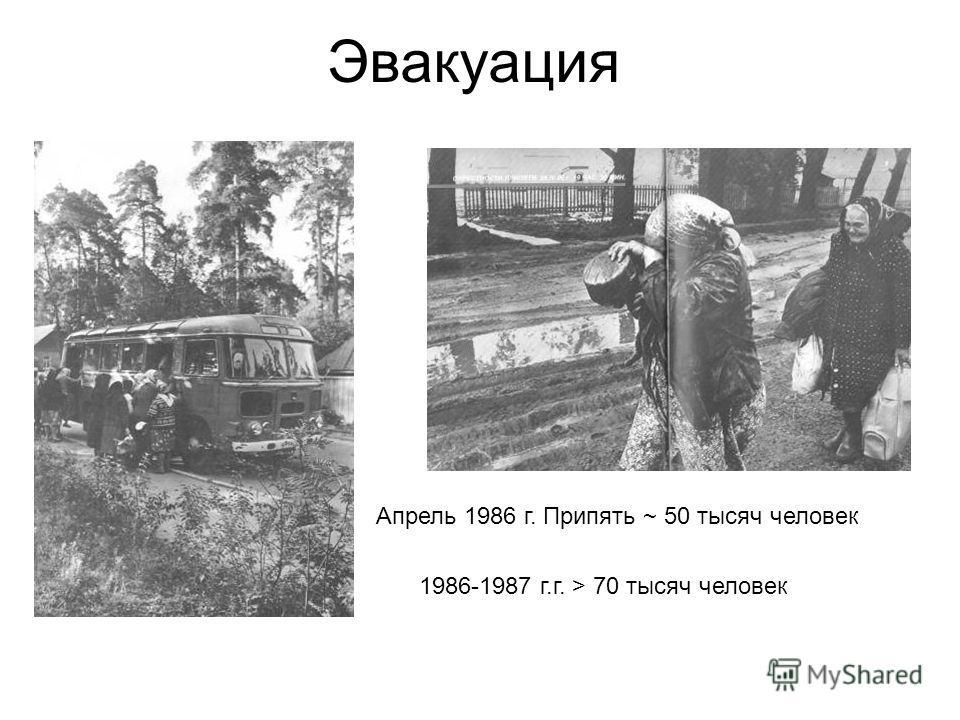 Эвакуация Апрель 1986 г. Припять ~ 50 тысяч человек 1986-1987 г.г. > 70 тысяч человек
