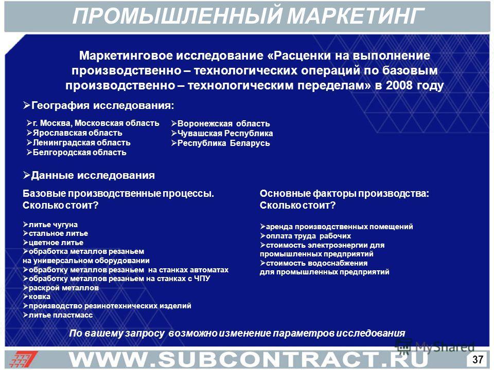Маркетинговое исследование «Расценки на выполнение производственно – технологических операций по базовым производственно – технологическим переделам» в 2008 году По вашему запросу возможно изменение параметров исследования г. Москва, Московская облас