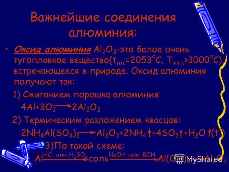 Важнейшие соединения алюминия: Оксид алюминия Al 2 O 3 -это белое очень тугоплавкое вещество(t пл. =2053 о С, T кип. >3000 о С), встречающееся в природе. Оксид алюминия получают так: 1) Сжиганием порошка алюминия: 4Al+3O 2 2Al 2 O 3 2) Термическим ра