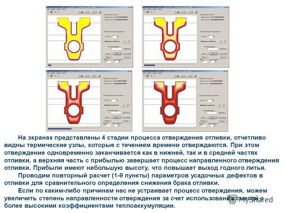 На экранах представлены 4 стадии процесса отверждения отливки, отчетливо видны термические узлы, которые с течением времени отверждаются. При этом отверждение одновременно заканчивается как в нижней, так и в средней частях отливки, а верхняя часть с