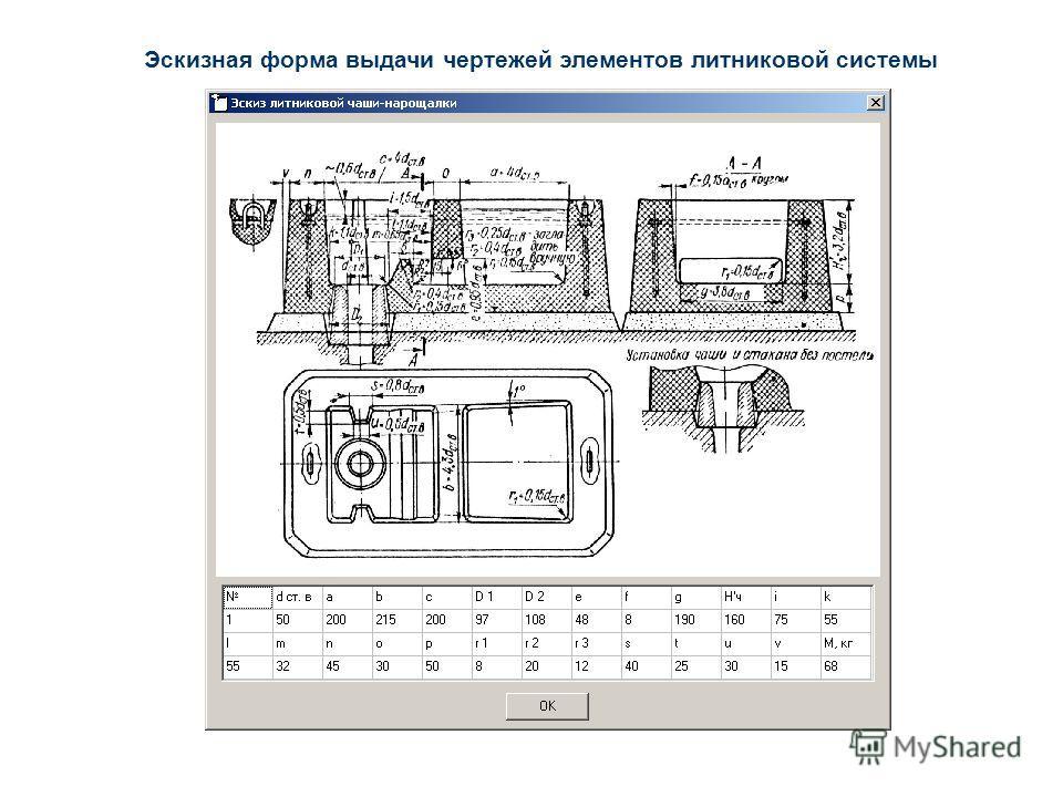 Эскизная форма выдачи чертежей элементов литниковой системы